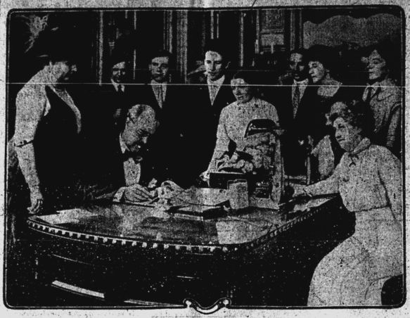 Dunne Signing Suggrage Bill - July 14 1914 p