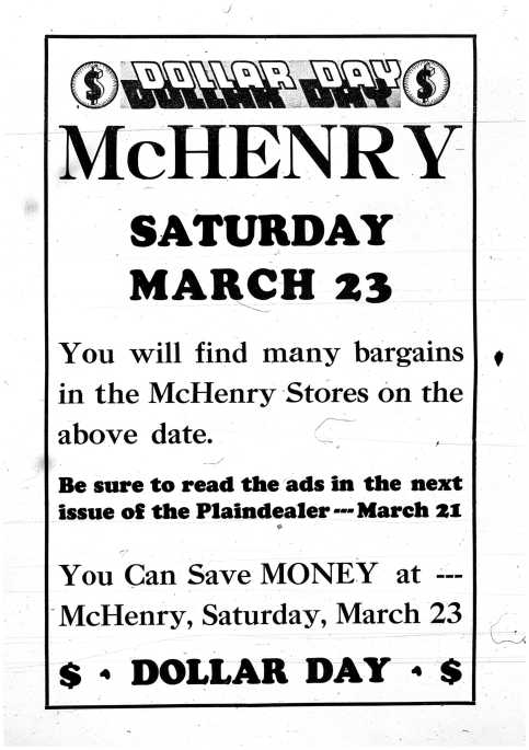 Dollar Day Ad - March 14, 1935