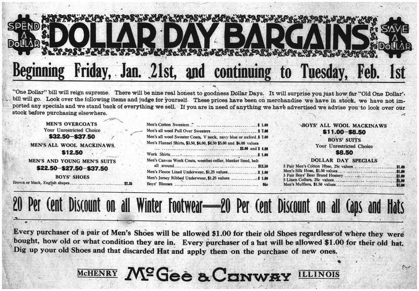 Dollar Day Bargains - Jan 20, 1921